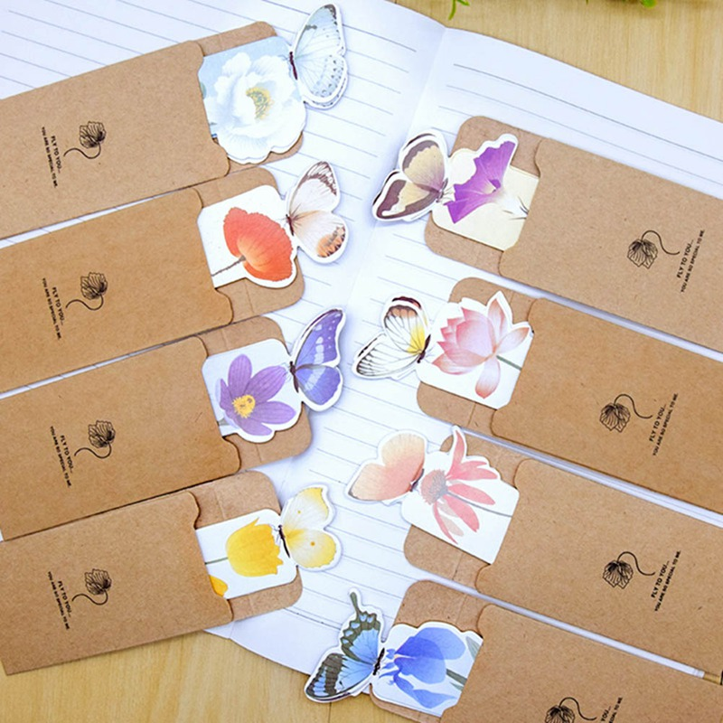 14pcs Books Marks Flower Print Bookmark Stationery Mini Paper 3D Stereo Butterfly Bookmarks For Girls Women Gifts Random Color