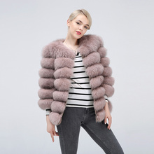 New 2019 womens leather 100% natural fox fur coat, suitable for real women winter warm high-quality coat