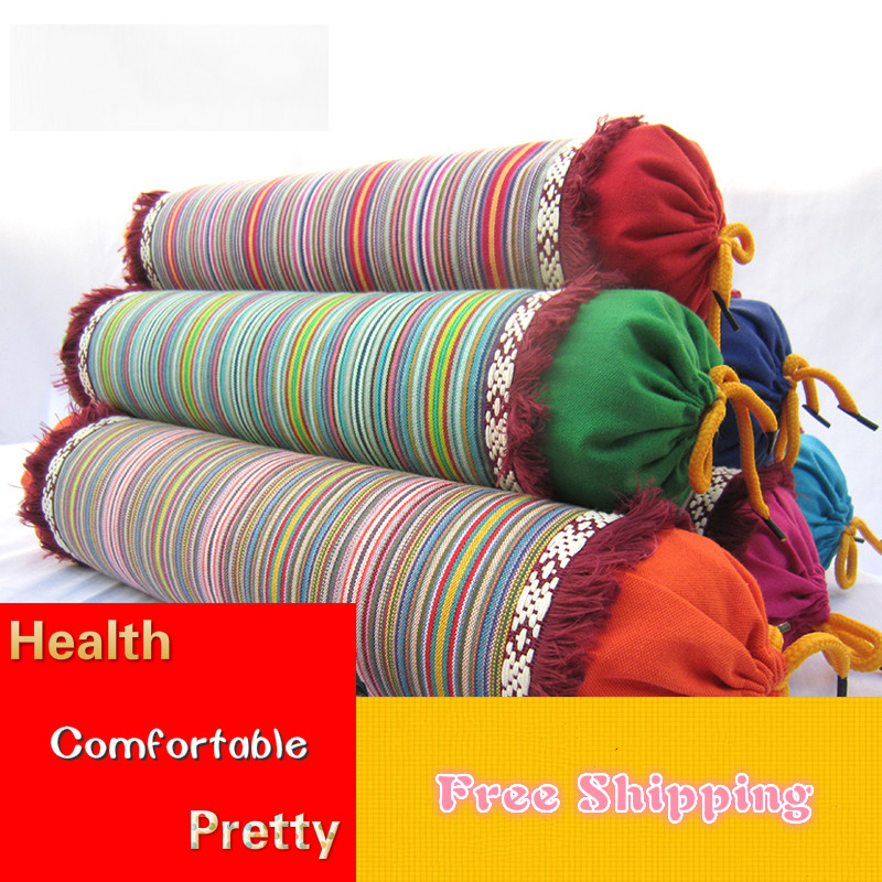 New Cervical Pillow Care Stripe Coarse Cotton Buckwheat Hull Physiotherapy Traction Neck Pillows for Sleeping Washable