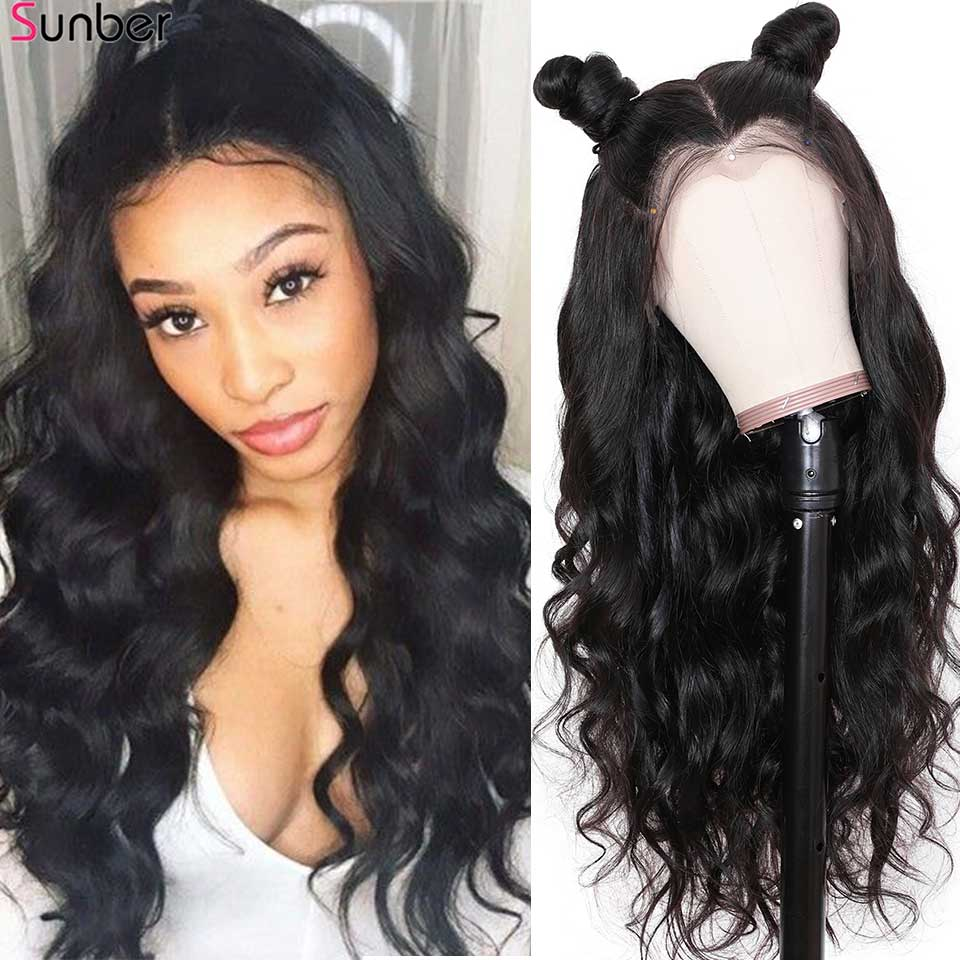 Sunber Hair Peruvian glueless Lace Front Hair Wig for Black Women 150% Density Remy Pre Plucked 13x4 Body Wave Lace Front Wigs