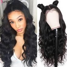 Sunber saç perulu tutkalsız dantel ön saç peruk siyah kadınlar için 150% yoğunluk Remy önceden kopardı 13x4 vücut dalga dantel ön peruk