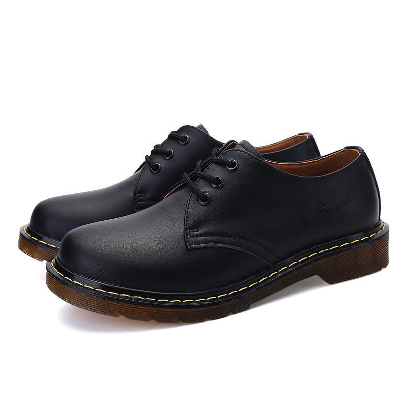 New Men Ankle Fashion Shoes Lace-up Men Martens Boots Soulier Homme Wear Resistent Men Dr Loafers Shoes Spilt Leather Size 35-45