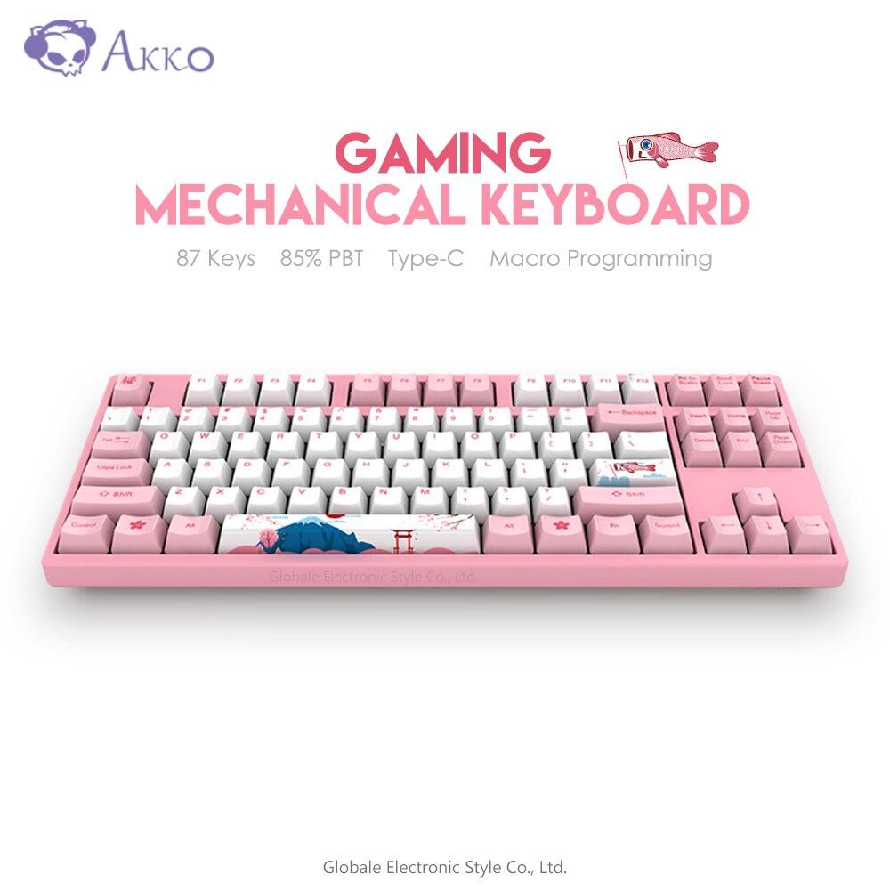Original AKKO 3087 87 Keys Gaming Keyboard Mechanical 85% PBT Type - C USB Wired Computer Gamer Macro Programmable Tokya Sakura