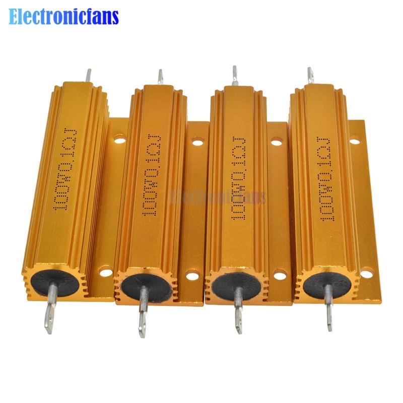 100W de Alumínio Shell Power Metal Caso Wirewound Resistor ± 5% 0.1R 0.5R 1R 2R 6R 8R 10R 20R 100R 1K ohm Alumínio Shell Resistor