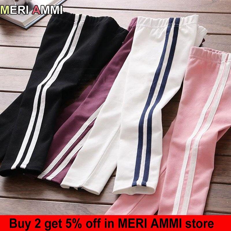 MERI AMMI Children Girl Cotton Clothing Baby Flower Stripes Leggings For 2-7 Year Girl,J691