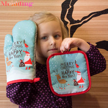 2Pcs/set Hot Oven Mitts Baking Anti-Hot Gloves Pad Oven Microwave Insulation Mat Baking Kitchen Tool Kerst Christmas Home Decor microwave oven baking tray cold rolled plate porcelain veneer insulation half hour kitchen baking kitchenware wholesale