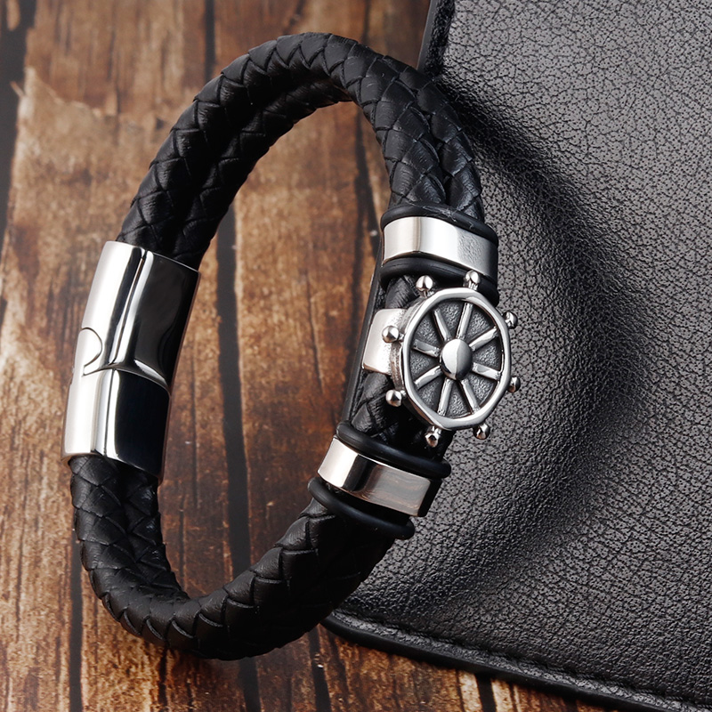 Black Genuine Leather Bracelet for Men Punk Braided Rope Steel Magnetic Button Male Bracelet Jewelry Birthday Gift
