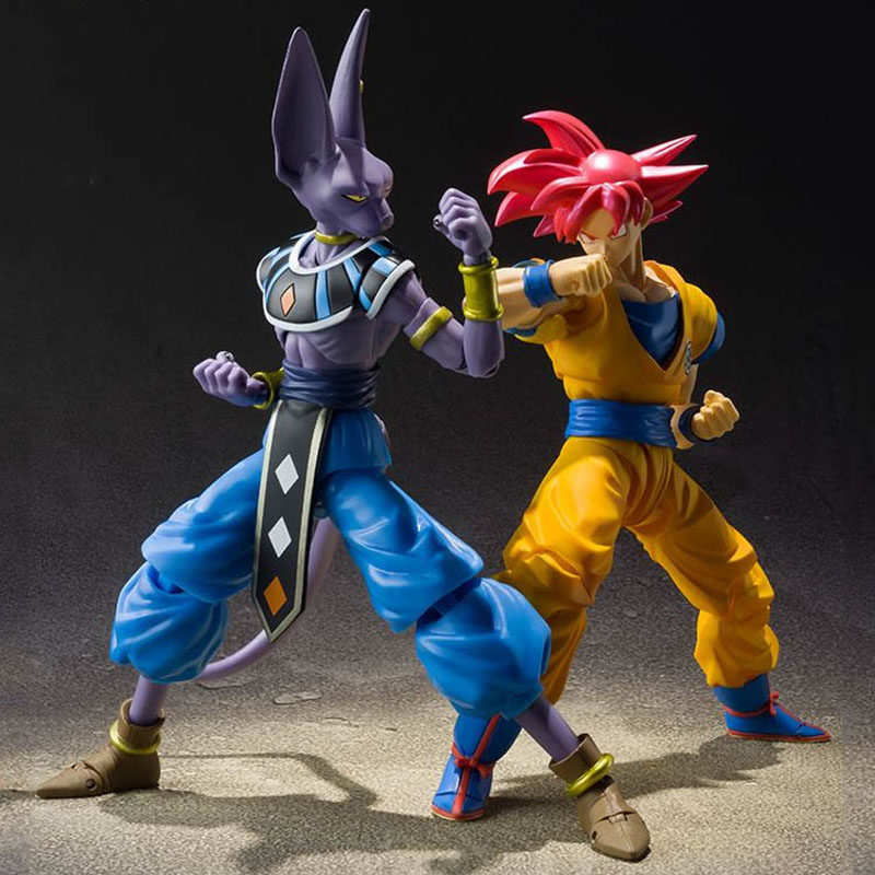 SHF Soldier Accessories Dragon Ball Super Red Goku Super Saiyan God Models Mfg Series Remote Control Anime Dragon Ball Gift Toys