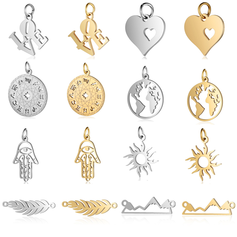 5pcs/lot 12 Zodiac Horoscope DIY Charms Wholesale Stainless Steel World Map Leaf Pendant Palm Sun Hamsa Hand Connectors Charm