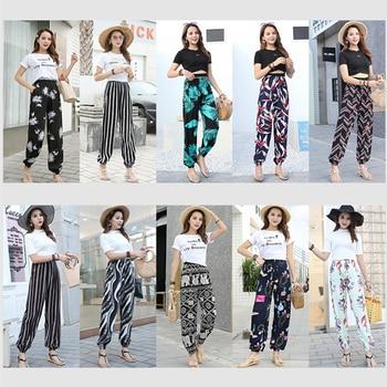 New Summer Women's Loose Harem Pants Boho Printed Pockets Wide Leg Loose Sweat Pants Wide Leg Pants Ethnic Retro Casual Pants Be