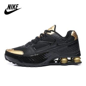 Original Nike Shox R4 air column engraved mens sports running shoes size 40-45 black gold