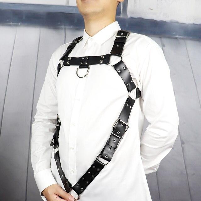 UYEE nowy uprząż ze sztucznej skóry pasy mężczyźni projektant bielizna regulowana metalowa klamra pasa Body do Bondage pas szelki LM 031