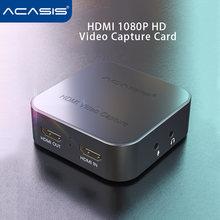 Acasis usb 30 4k 1080p 60fps видео карта захвата hdmi ps4/switch/ns/xbox/камера