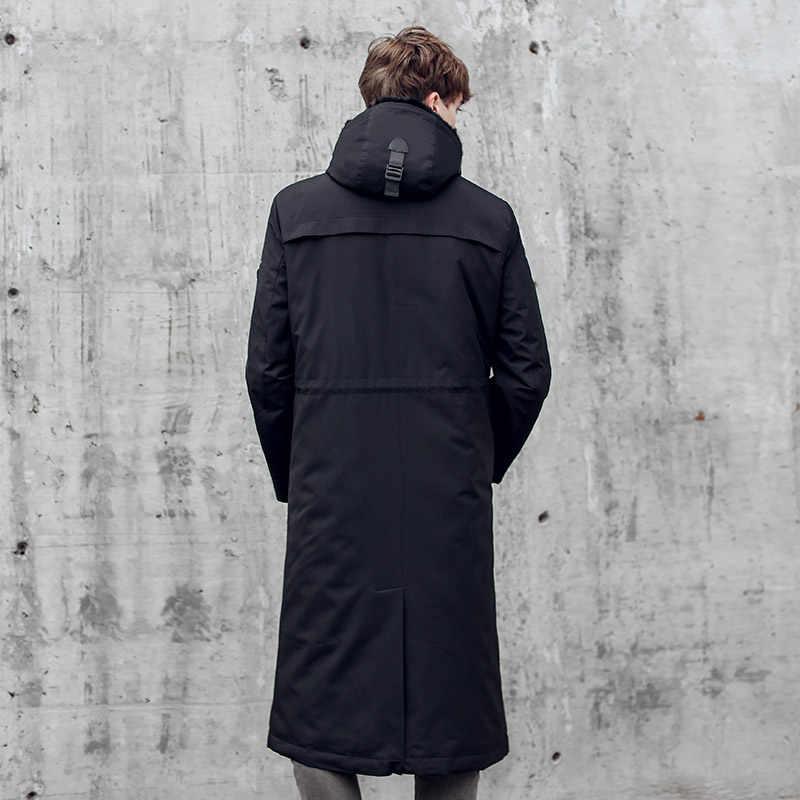 Abrigo de piel auténtica abrigo de piel de visón Natural chaqueta de invierno para hombre chaqueta de plumón de ganso abrigo Parkas de talla grande Casaco 18026 YY1087