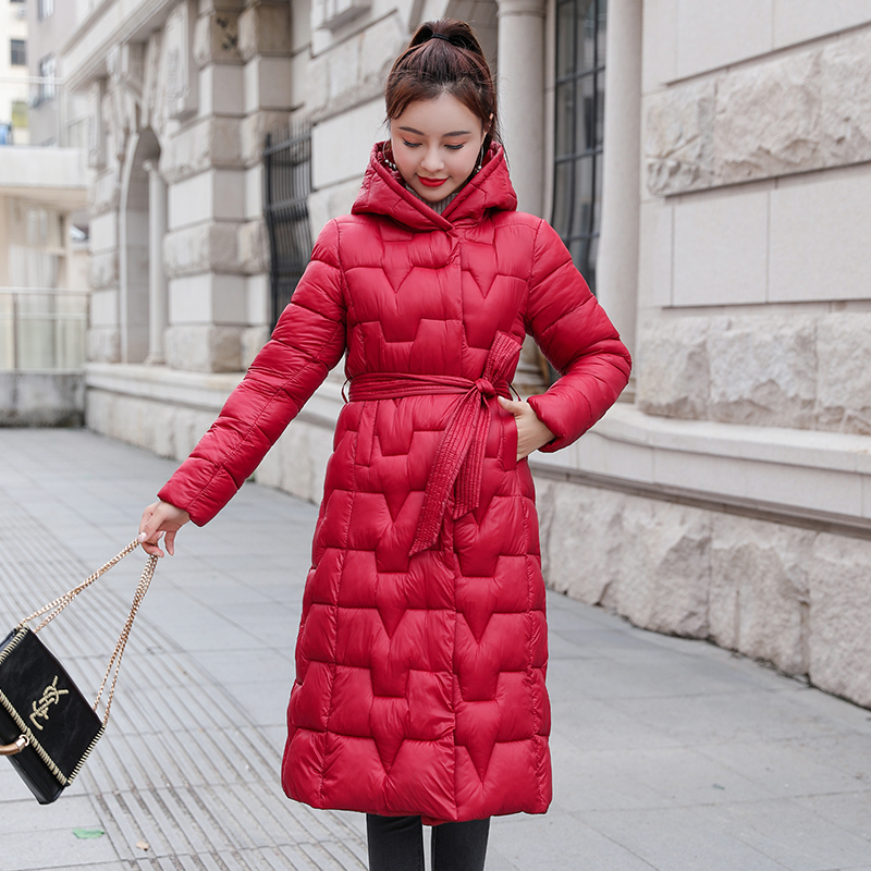 Plus Size Women Winter Parkas 2020 Long Jacket With Sashes Hooded Thick Office Ladies Outwear Solid Warm Coat Femme Giacca Donna