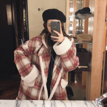 MISHOW 2019 autumn winter red plaid woolen coat new fashion causal women turndown collar thick coat MX18D6457(China)