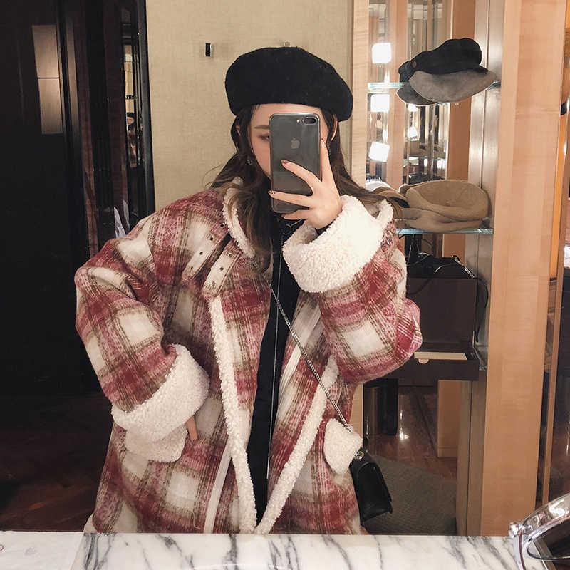 MISHOW 2019 herbst winter rot karierten woll mantel neue mode kausalen frauen turndown kragen dicken mantel MX18D6457