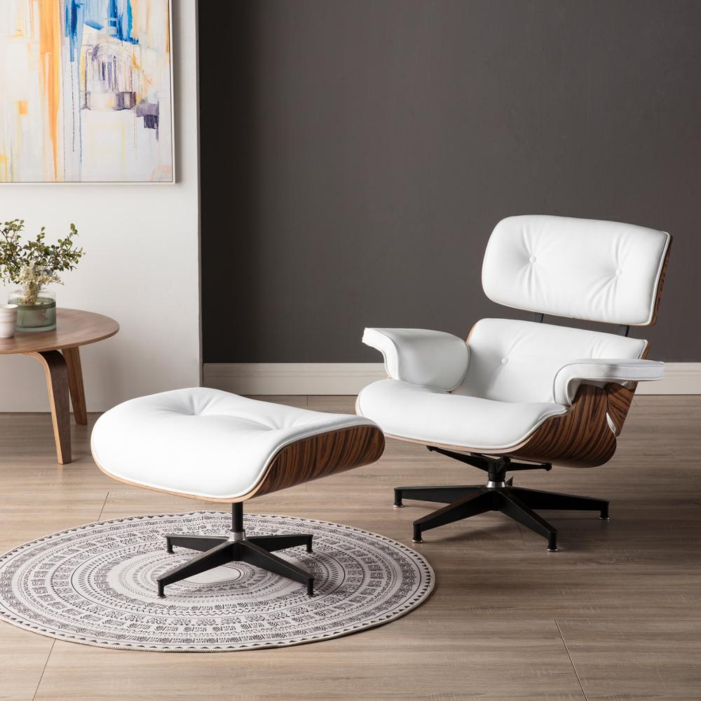 Furgle White walnut Leather Armchair Replica Lounge Chair with Ottoman Walnut Chaise Classic Real Leather Lounge Chair for home