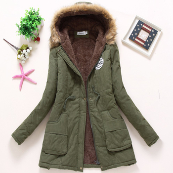 Ailegogo Women Winter Military Coats Cotton Wadded Hooded Jacket Casual Parka Thickness Warm XXXL Size Quilt Snow Outwear 1