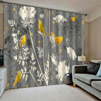 Plant Grey Dandelion Valance Window Curtains Dark Living Room Blackout Bedroom Indoor Drapes