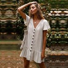 Primavera verão novo babados mini vestido feminino cor sólida decote em v elegante botão de manga cheia