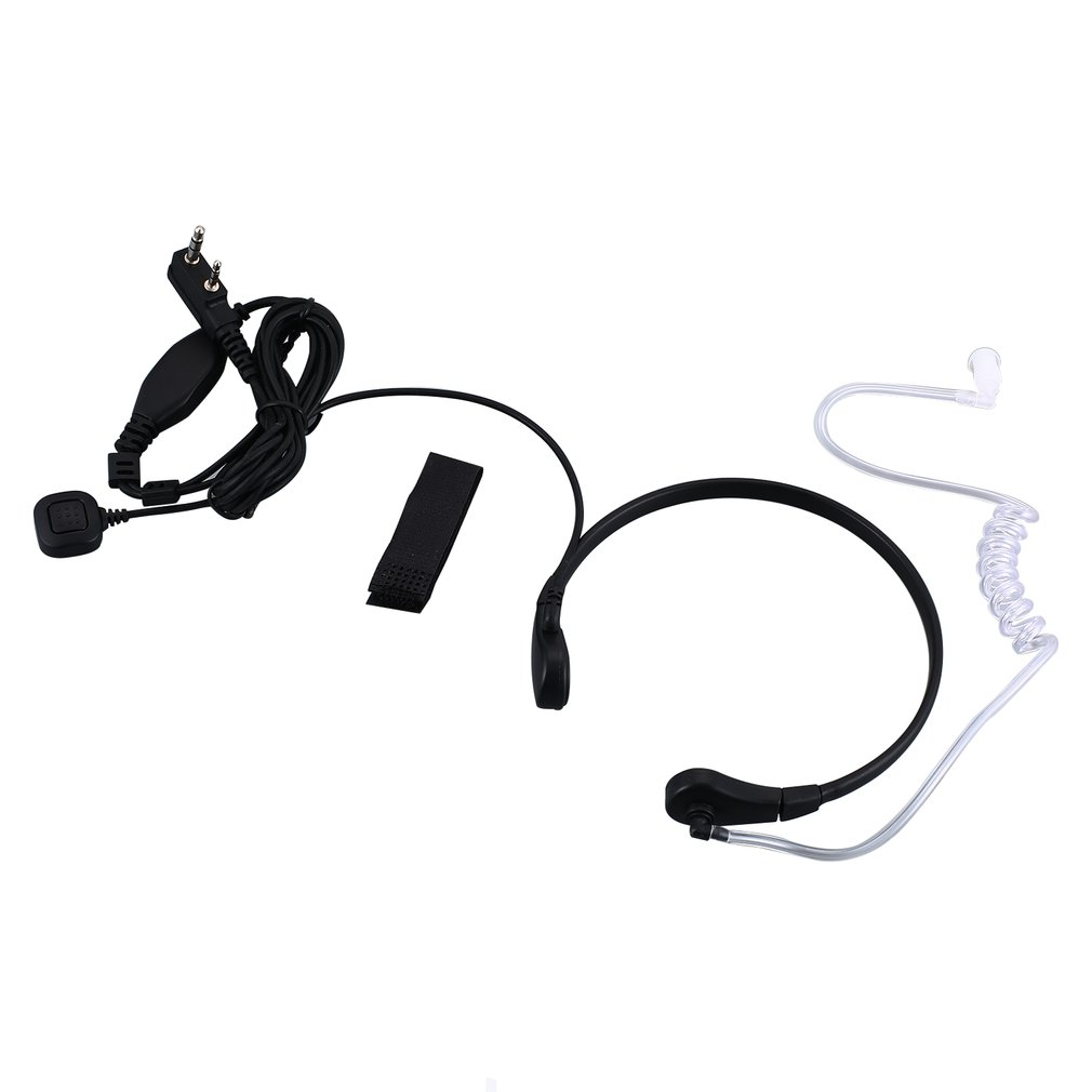 Throat Mic Microphone Covert Acoustic Tube Earpiece Headset With Finger PTT For Kenwood Radios 2 PIN Walkie Talkie