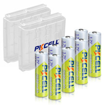 8 baterias recarregáveis do aa do ni-mh aa da bateria de nimh 2600mah 1.2v 2a dos pces pilhas recarregáveis do aa bateria baterias + 2 caixas do caso da posse da bateria dos pces