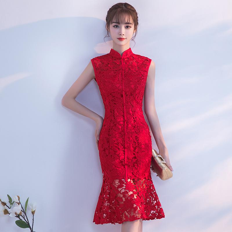 Spring-Evening-Party-Gowns-Qipao-Traditional-Chinese-Women-Wedding-Dress-Slim-Red-Lace-Half-Sleeve-Mandarin (5)