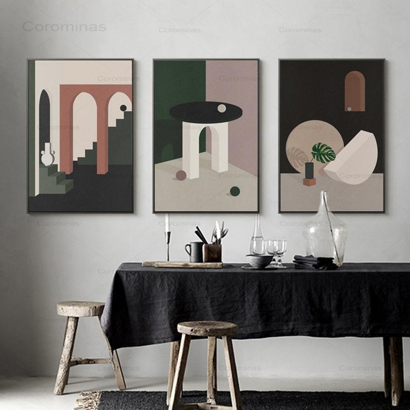 Nordic Abstract Morandi Canvas Painting Simple Style Poster Wall Art Posters Living Room Decor Home Decoration Painting Art