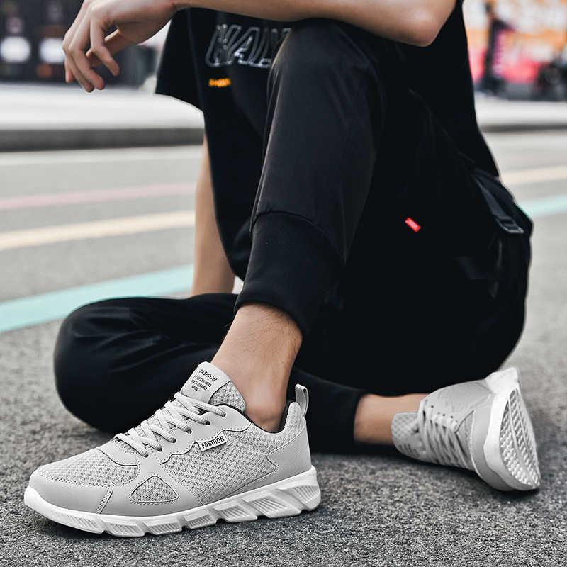 Męskie trampki lekkie buty do biegania klasyczne sportowe buty letnie oddychające męskie trampki tłumiące Jogging buty spacerowe dla mężczyzn trener
