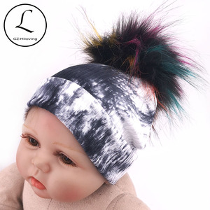Black Tie Dye Cotton Ribbed Beanie Hats With Fur Pompom Hats And Caps For Newborn Baby Girls Boys Infant Kids Childs Winter Hats(China)