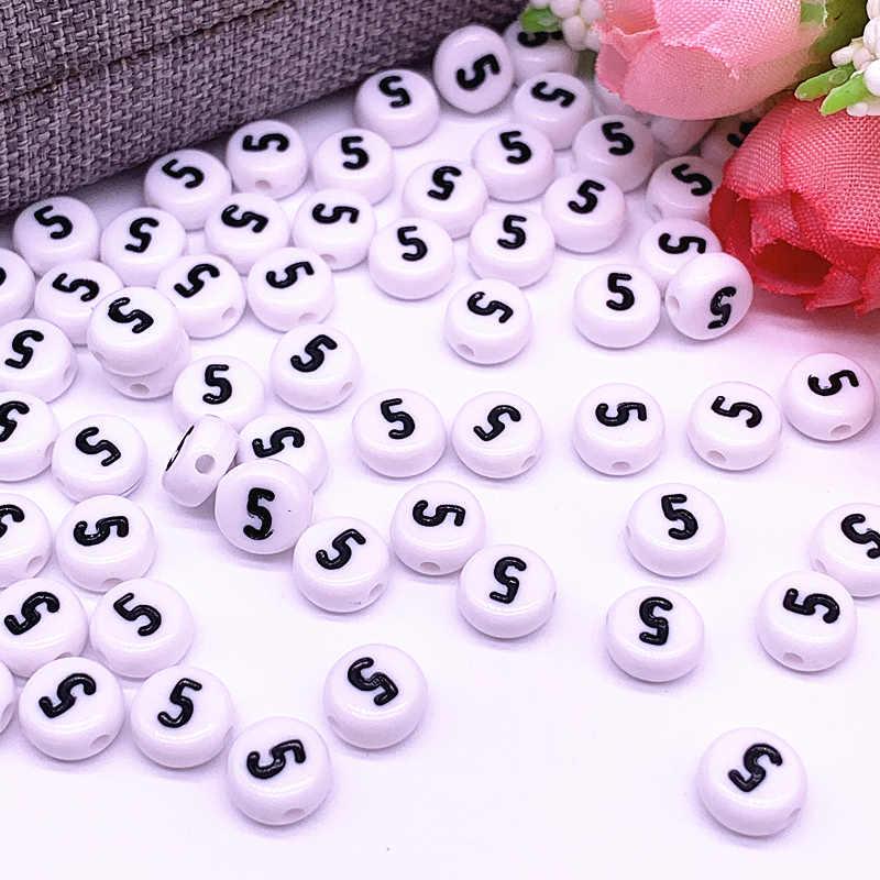 100 pz/lotto 7x4 millimetri 0-9 Numeri di Bianco Rotondo Acrilico Branelli del Distanziatore Allentato per Monili Che Fanno FAI DA TE accessori braccialetto