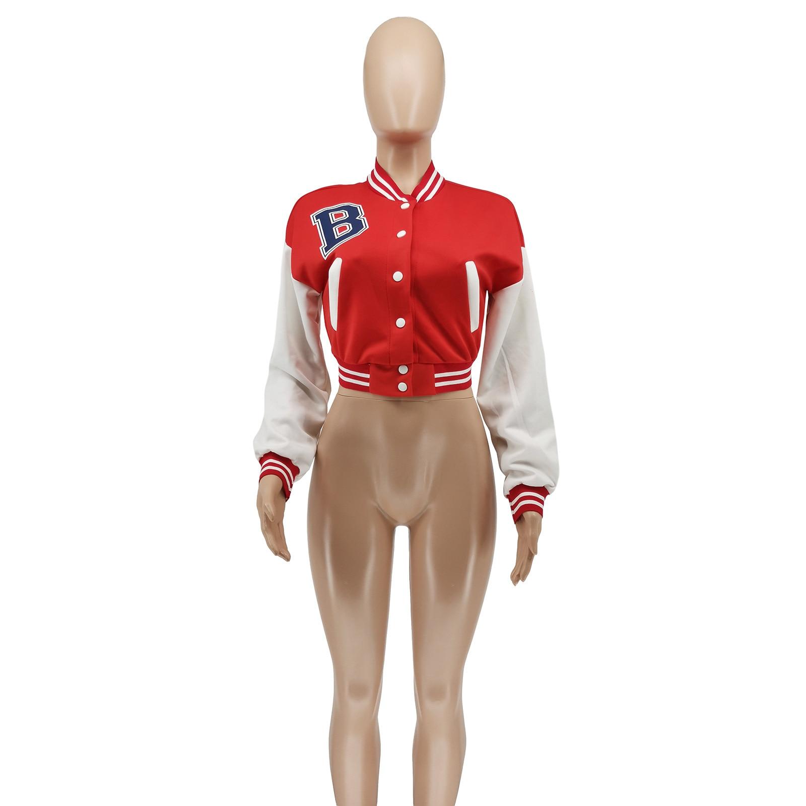 H460b4d142af0422ca8a97d597157b5646 Baseball Jackets for Women 2021 Autumn Letter Print Color Patchwork Cropped Long Sleeve Loose Short Bomber Jacket