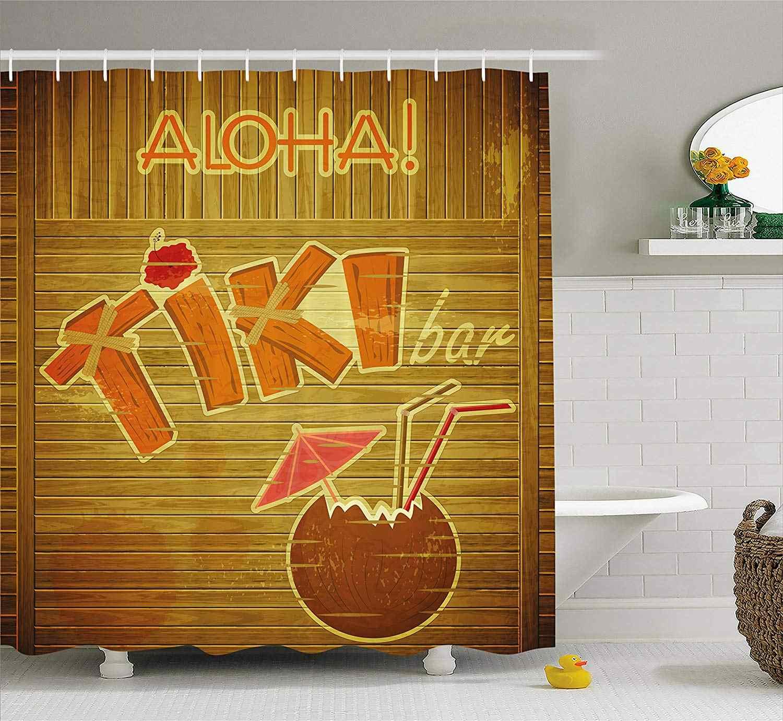 Tiki Bar Decor Shower Curtain Wooden