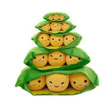 De vainas de guisantes de juguete de felpa verde frijoles de soja de peluche muñeco de peluche Animal cintura almohada regalo de Navidad Unisex para niños