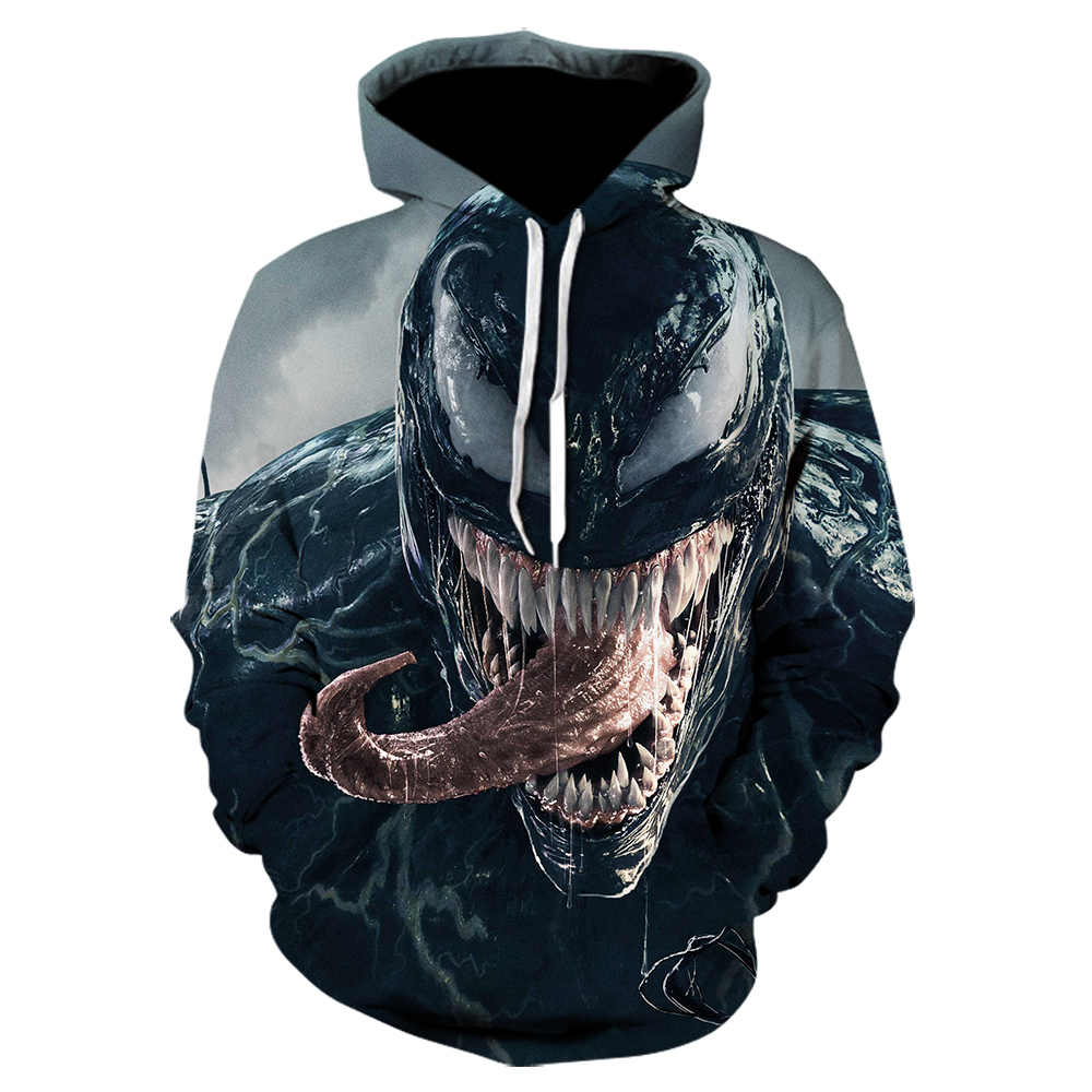 Superhero Venom Hoodies 남성 여성 스웨터 Cool Spider-man 인쇄 된 3d 까마귀 힙합 풀오버 marvel Hooded Streetwear Tops
