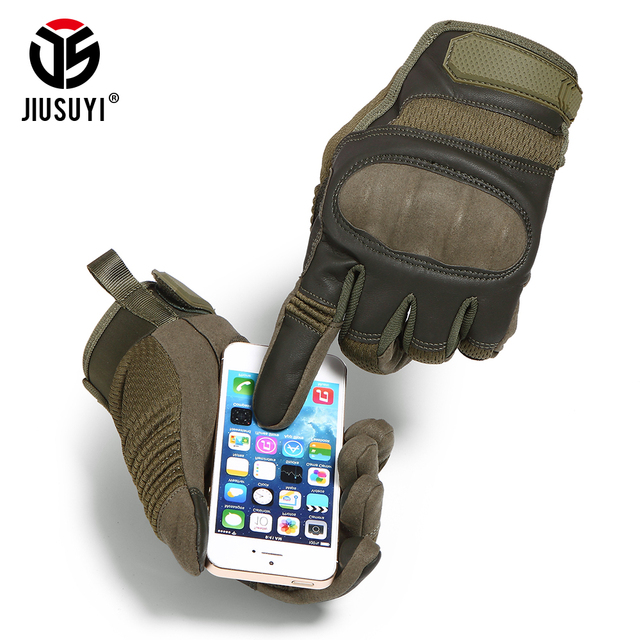 Tactical Military Full Finger Gloves Touch Screen Airsoft Combat Paintball Shooting Hard Knuckle Armor Bicycle Driving Glove Men 2