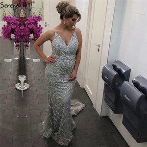 Image 2 - Dubai Grey Sexy Mermaid Prom Dresses 2019 Pearls Beading Luxury Sleeveless Prom Gowns Real Photo DLA60729