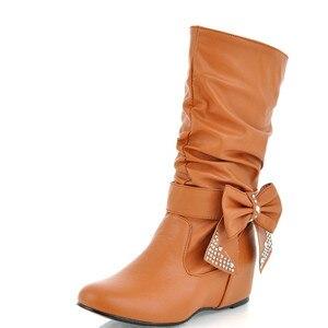 Image 2 - Новые дамские весенне осенние ботинки «ENMAYER» с бантом на плоской подошве Дамские ботинки до середины икры в 4 расцветках Большие размеры (34–47)