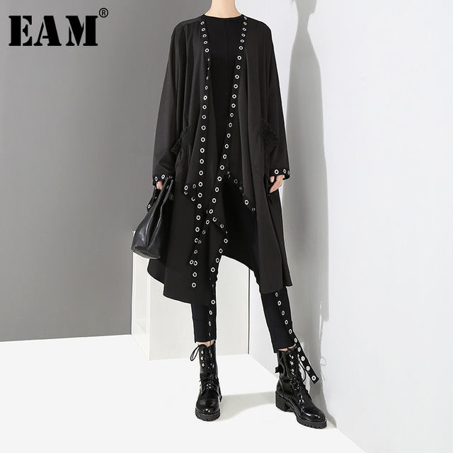[EAM] Loose Fit Black Hollow Out Ribbon Pleated Big Size Jacket New V-collar Long Sleeve Women Coat Fashion Spring 2021 1D756 1