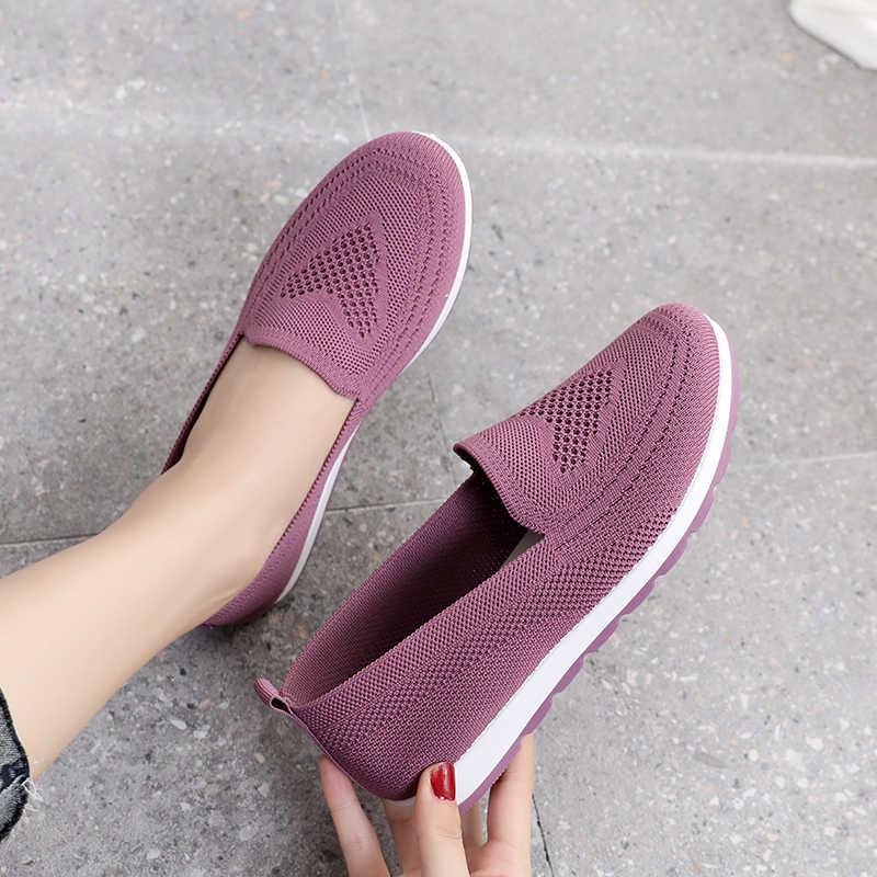 여성 여름 운동화 플랫 신발에 미끄러 져 여성 캐주얼 로퍼 산책 신발 여성 야외 메쉬 부드러운 바닥 스포츠 신발