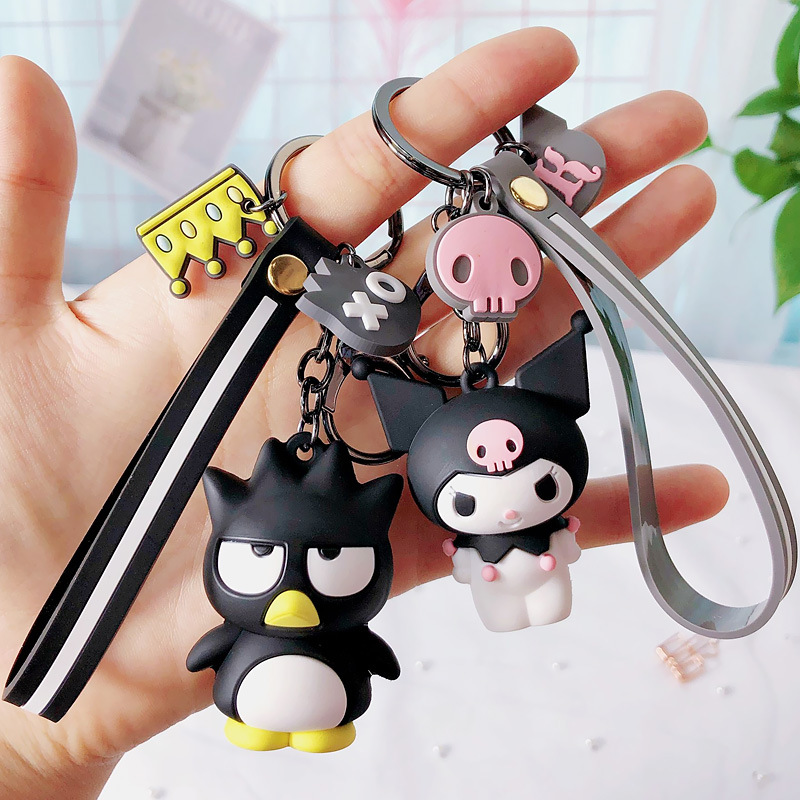 New Cute Hello Kitty Keychain Big Ear Dog Keychains Cute Cartoon Penguin Key Chain Bag Jewelry Keyring Car Pendant Porte Clef