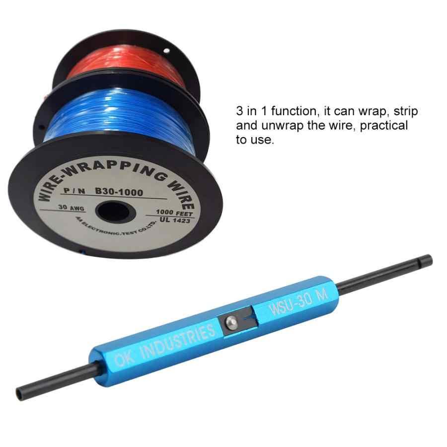 3-in-1 내구성 와이어 랩 핸드 툴 WSU-30M 와이어 랩 스트립 awg 30 케이블 프로토 타이핑 랩핑 용 unwrap tool