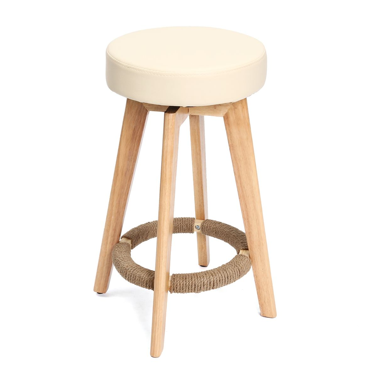 65cm Vintage Bar Stool Wooden Dinning Chair PU Leather Counter Seat Kitchen Dining Chair Home Pub Bar Furniture 3 Colors
