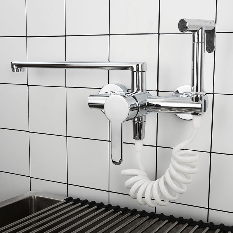Kitchen Faucet Chrome Plated Brass Kitchen Sink Mixer Wall Mounted Water Tap With Sprayer