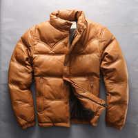 Chaqueta de plumón de piel de cabra con cremallera de marca de cuero genuino chaqueta de plumón de Otoño Invierno para hombre Abrigos de gran tamaño M-4XL