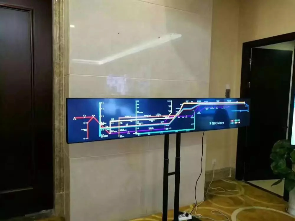 38 Inch Hd Ultra-wide Stretched Advertising Lcd Shelf Bar Display