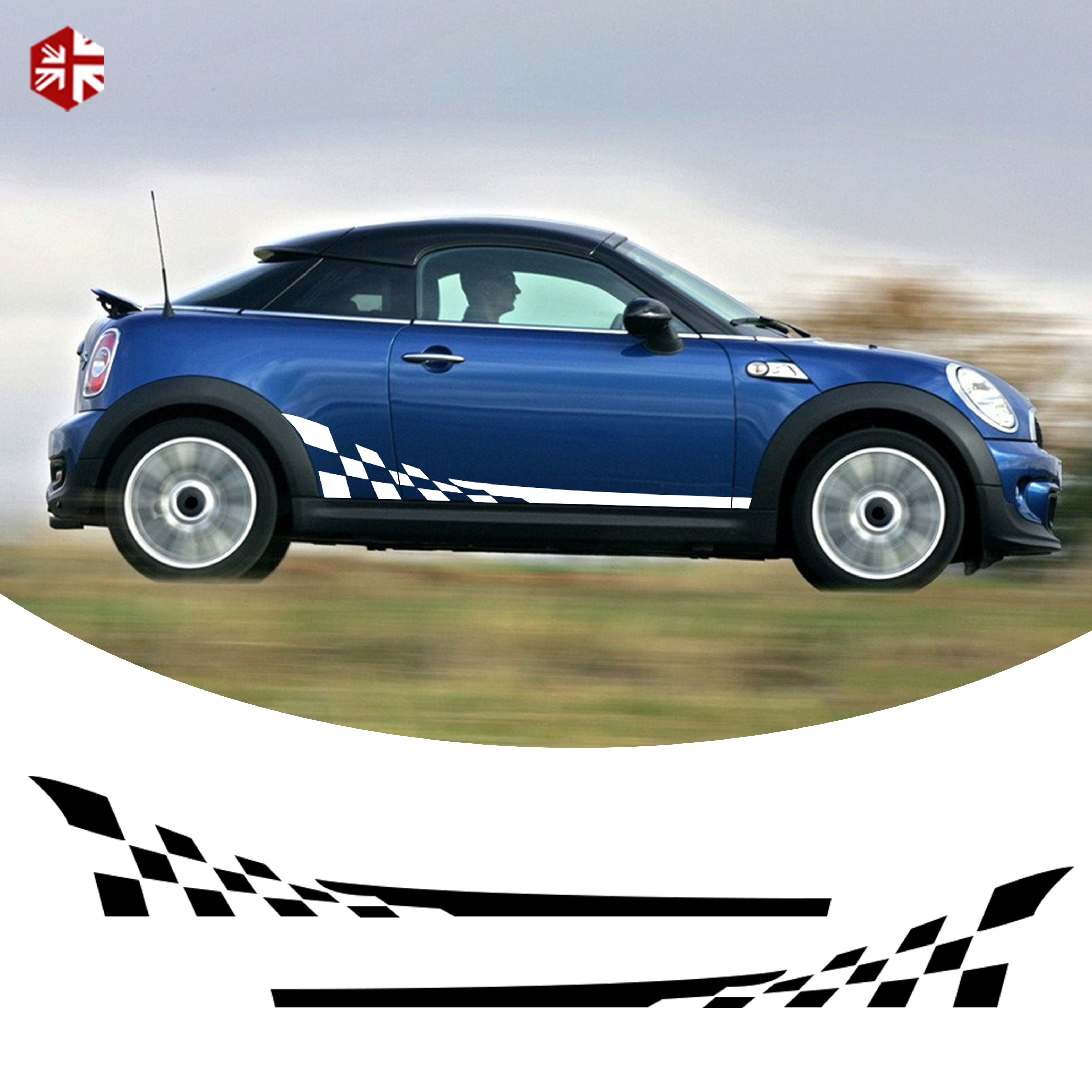 Mini Cooper Racing Side Stripes Graphics Decals