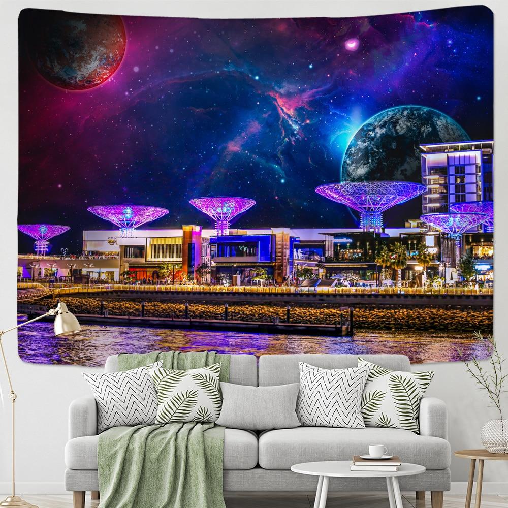 Misterioso planeta cidade céu estrelado espaço tapeçaria parede pendurado barato grande psychedelic estrela tapeçaria para o quarto toalha de praia