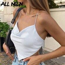 ALLNeon – haut de soirée uni à lacets pour fille, Top Vintage sans manches à bandes croisées, court, blanc, Club, années 90